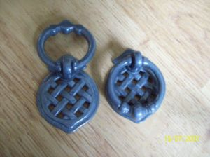 Pewter Lattice Cupboard Cabinet Drawer Ring Pull Handle